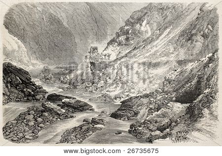 Antique illustration of Chiffa Gorges, Algeria. Original, from drawing of Rouargue after photo of Carette, was published on L'Illustration, Journal Universel, Paris, 1860