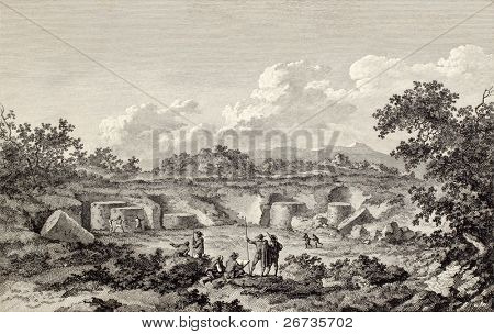 View of Cusa quarries, near Campobello, Sicily. Created by Chatelet and Allix, published on Voyage Pittoresque de Naples et de Sicilie, by J. C. R. de Saint Non, Impr. de Clousier, Paris, 1786