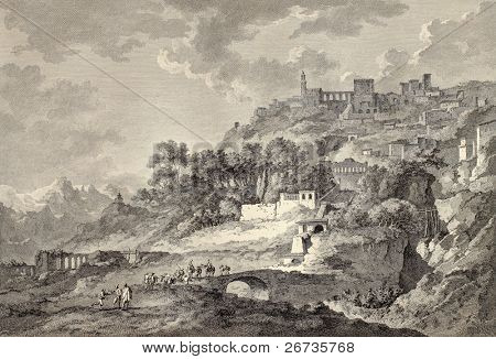 View of Leonforte, near Enna, Sicily. Created by Chatelet and Allix, published on Voyage Pittoresque de Naples et de Sicilie, by J. C. R. de Saint Non, Imprimerie de Clousier, Paris, 1786