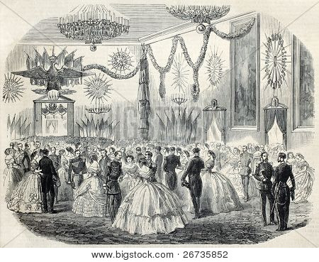 Old illustration of French army ball at Cremona's city hall, Italy. Original, from drawing of Janet-Lange, after sketch of Boucheman, was published on L'Illustration, Journal Universel, Paris, 1860