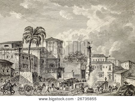 View of Palma di Montechiaro, Sicily. Created by Bertheaux e Lenard, published on Voyage Pittoresque de Naples et de Sicilie, by J. C. R. de Saint Non, Imprimerie de Clousier, Paris, 1786
