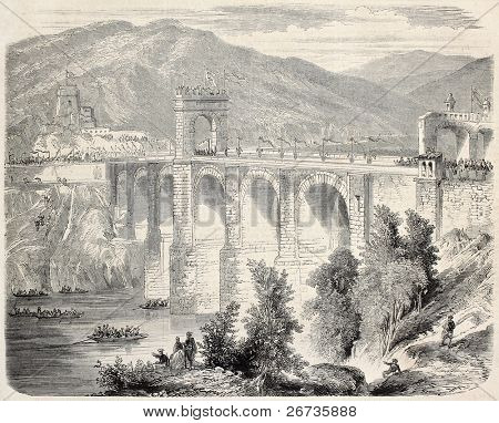 Old illustration of Alcantara Bridge blessing after restoration, Spain. Original, from drawing of Rouargue, after photo of Clifford, was published on L'Illustration, Journal Universel, Paris, 1860