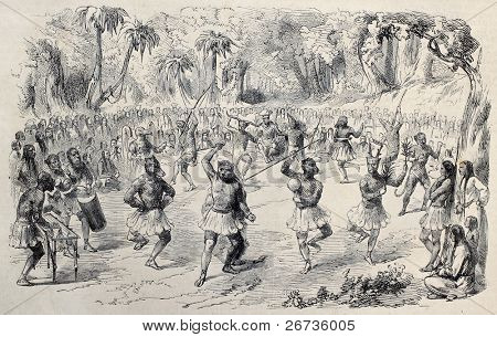 Antique illustration of ritual dance of native central American. Original, from drawing of Godefroy and Durand, after sketch of De Pontelli, published on L'Illustration, Journal Universel, Paris, 1860