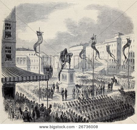 President Buchanan inaugurating George Washington equestrian statue in Washington D.C. From drawing of Janet-Lange, after sketch of Vernier, published on L'Illustration, Journal Universel, Paris, 1860