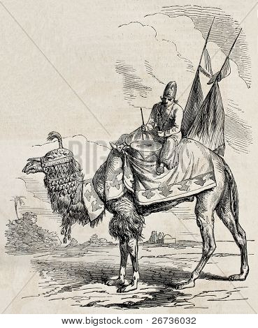 Old illustration of camel drummer of Persian Shah. Original, from drawing of Duhousset, was published on L'Illustration Journal Universel, Paris, 1860