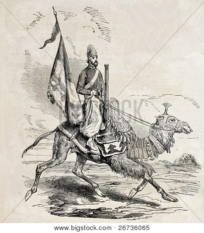 Old illustration of persian camel artillery man. Original, from drawing of Duhousset, was published on L'Illustration Journal Universel, Paris, 1860
