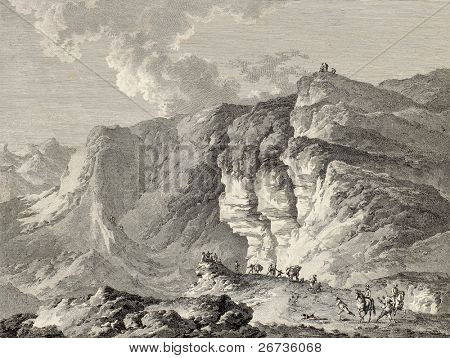 Salt mine in Alimena surroundings, Sicily. By Chatelet and Malbeste, published on Voyage Pittoresque de Naples et de Sicilie,  J. C. R. de Saint Non, Imprimerie de Clousier, Paris, 1786