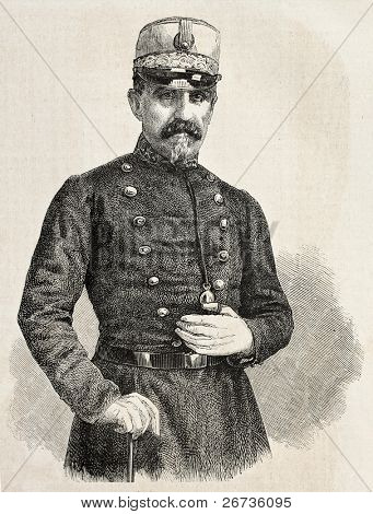 Old engraved portrait of General Luiz Garcia, chief of staff  of Spanish army in Morocco. Original, from drawing of Hofer, was published on L'Illustration Journal Universel, Paris, 1860