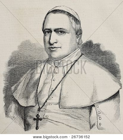 Antique engraved portrait of pope Pius IX. Original, from drawing of Hofer, was published on L'Illustration Journal Universel, Paris, 1860