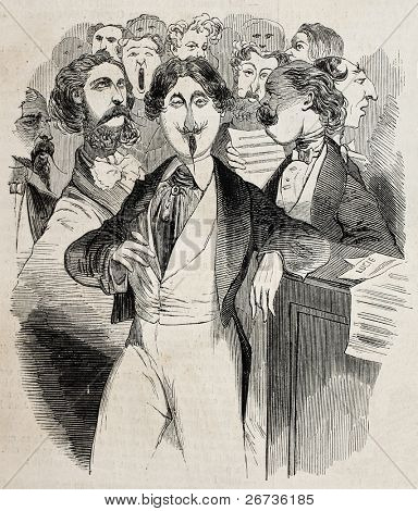 Antique caricatural illustration of singers. Original, from drawing of Carlo Gripp, was published on L'Illustration Journal Universel, Paris, 1860
