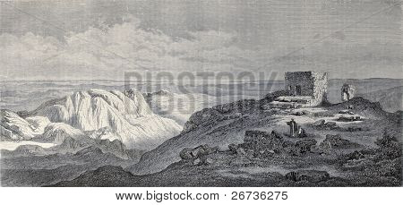 Old illustration of Mount Sinai, Egypt. Original, created by Pierron and Cosson-Smeeton, was published on L'Illustration, Journal Universel, Paris, 1968