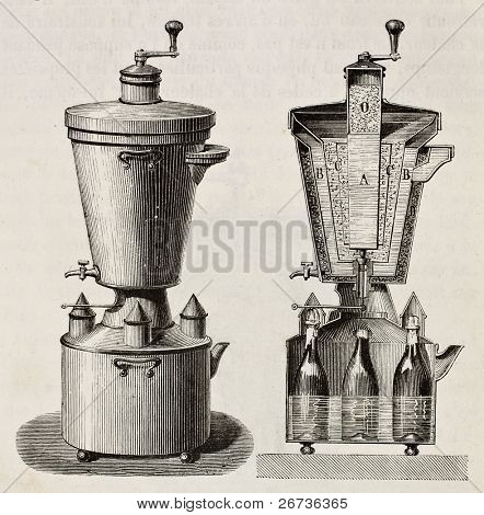 Old illustration of household cooling apparatus. Original, from unknown author, was published on L'Eau, by G. Tissandier, Hachette, Paris, 1873