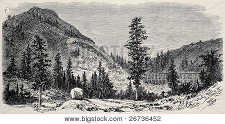 Pista antiga visão de Black Butte, Califórnia, ao longo da Union Pacific Railroad. Original, criado por Lancel