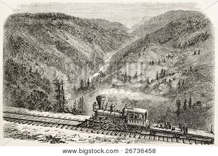 Old view of American canyon from Cape Horn, California, along Union Pacific Railroad track. Original, created by Lancelot, was published on L'Illustration, Journal Universel, Paris, 1868