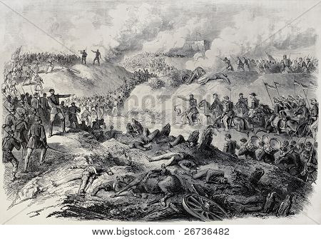 Old illustration of battlefield in Paraguay, during the war of the Triple Alliance. By Janet-Lange and Cosson-Smeeton after sketch of Paranhos. Publ. on L'Illustration, Journal Universel, Paris, 1868