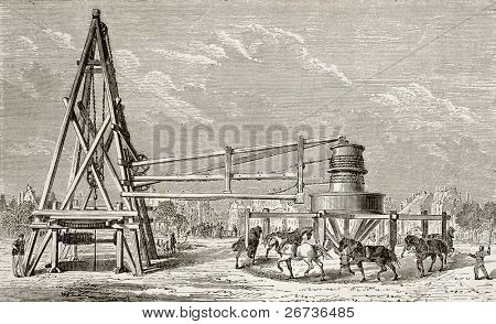 Antique illustration of drilling artesian well at Grenelle, Paris. Original, created by Lapiante and Javandier, was published on L'Eau, by G. Tissandier, Hachette, Paris, 1873.