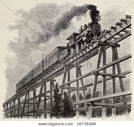 Old illustration of train crossing wooden trestle bridge along Union Pacific railroad. Original, created by Blanchard, was published on L'Illustration, Journal Universel, Paris, 1868