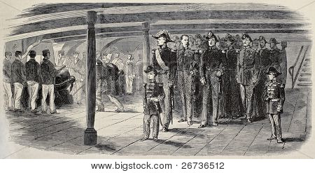 Old illustration of Prince Louis Napoleon Bonaparte, visiting school vessel Le Borda. Created by Pauquet, published on L'Illustration, Journal Universel, Paris, 1868