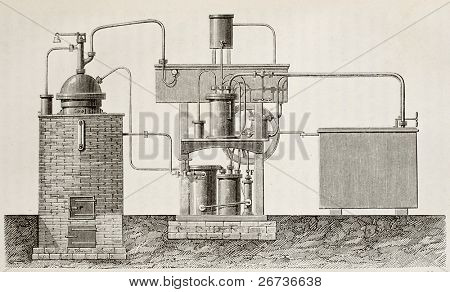 Antique illustration of absorption cooling apparatus invented by Ferdinand Carre. Original, drawing, created by Javandier and Boutun, was published on L'Eau, by G. Tissandier, Hachette, Paris, 1873