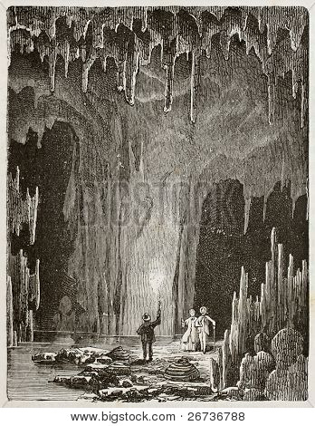 Old illustration of the Grotte des demoiselles (Maidens grotto). Original, by unknown author, was published on L'Eau, by G. Tissandier, Hachette, Paris, 1873