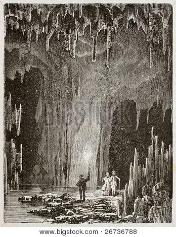 Old illustration of the Grotte des demoiselles (Maidens grotto). Original, by unknown author, was published on L'Eau, by G. Tissandier, Hachette, Paris, 1873