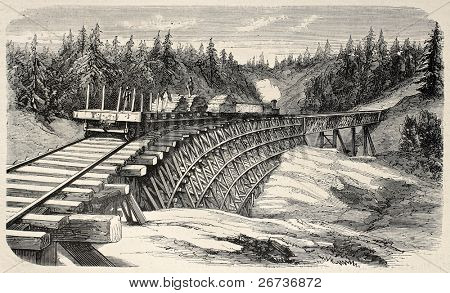 Old illustration of a trestle viaduct along Union Pacific Railroad, USA. Created by Lancelot and Cosson-Smeeton, published on L'Illustration, Journal Universel, Paris, 1868