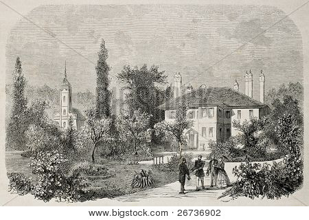 Old illustration of Prince  Mihailo Obrenovic III residence in Topcider, Belgrade, Serbia. Created by Blanchard, published on L'Illustration, Journal Universel, Paris, 1868