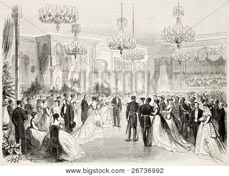 Old illustration of Grand Bal given to Egypt viceroy in Alexandria. Created by Pauquet and Cosson-Smeeton, published on L'Illustration, Journal Universel, Paris, 1868