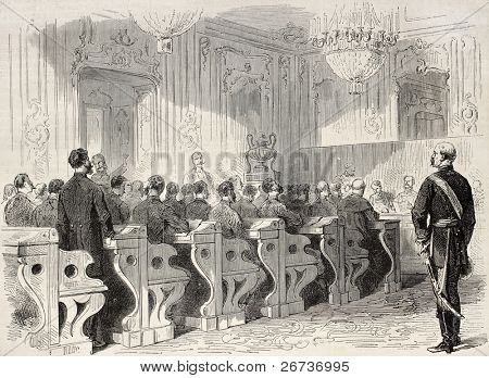 Old illustration of a session of Hungarian delegation in Vienna. Created by Pauquet and Dutheil, published on L'Illustration, Journal Universel, Paris, 1868