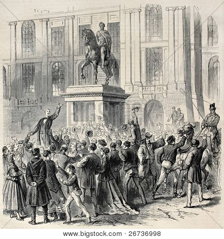 Popular demonstration in occasion of vote for civil marriage, Vienna, Austria.  Created by Janet-Lange, after sketch of Petrovits, published on L'Illustration, Journal Universel, Paris, 1868
