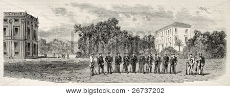 Group of gamekeepers in Capodimonte park, Bourbon's royal estate near Naples, Italy. Created by Blanchard and Cosson-Smeeton, published on L'Illustration, Journal Universel, Paris, 1868
