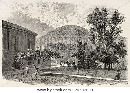 Old illustration of San Leucio hunting lodge, near Caserta, Italy. Created by Blanchard and Cosson-Smeeton, published on L'Illustration, Journal Universel, Paris, 1868