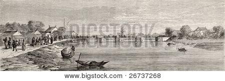 Antiga visão do creek de Suzhou, perto de Shanghai. Criado por Lancelot, depois que a pintura de Fisher, publicado em