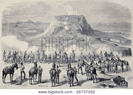 Old illustration of Magdala siege during British Abyssinian expedition. Created by Janet-Lange and Cosson-Smeeton, published on L'Illustration, Journal Universel, Paris, 1868
