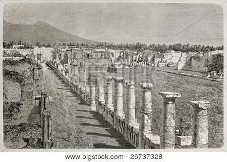 Old illustration of Temple of Venus ruins, Pompeii, Italy. Created by Therond, published on Le Tour du Monde, Paris, 1864