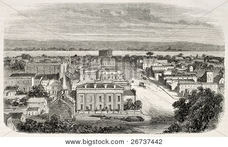 Antiga visão de Omaha, Nebraska, EUA. Criado por Lancelot e Cosson-Smeeton, publicado em L'Illustratio