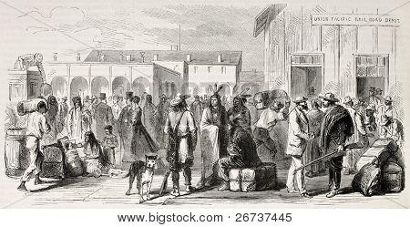 Antiga ilustração de Omaha railway station, Nebraska, EUA. Criado por Lancelot e Cosson Smeeton, pu