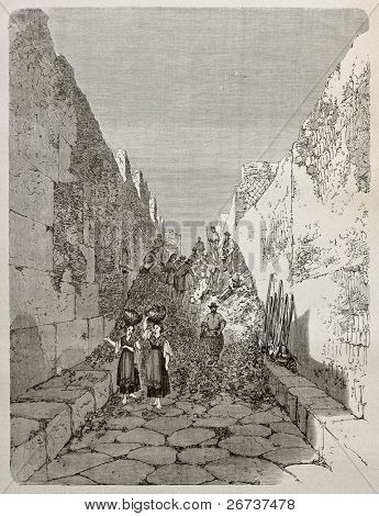 Old illustration of excavation work along antique alley in Pompeii, Italy. Created by Therond after sketch of Duclere, published on Le Tour du Monde, Paris, 1864