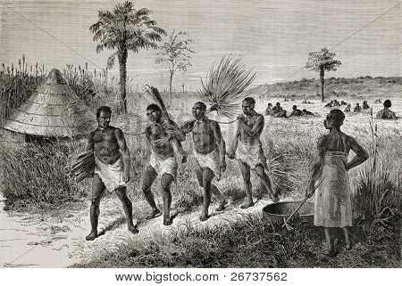 Old illustration of slaves in Unyamwezi region, Tanzania. Created by Bayard, published on Le Tour du Monde, Paris, 1864
