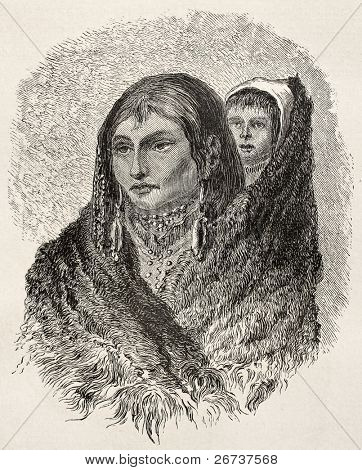 Old illustration of Sioux woman carrying child on her shoulder. Created by Lancelot, published on Le Tour du Monde, Paris, 1864