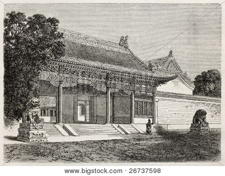 British legation main entrance in Beijing. Created by Therond, published on Le Tour du Monde, Paris, 1864.