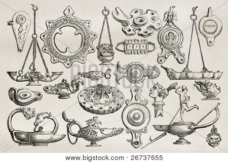 Old illustration of earthenware and bronze lamps found in Pompeii, Created by Catenacci, published on Le Tour du Monde, Paris, 1864