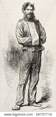 Old illustration of furious type in straight jacket hospitalized in Sainte Anne asylum. Created by Pauquet, published on L'Illustration, Journal Universel, Paris, 1868