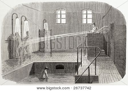 Old illustration of hydrotherapy in Sainte Anne asylum. Created by Gaildrau, published on L'Illustration, Journal Universel, Paris, 1868
