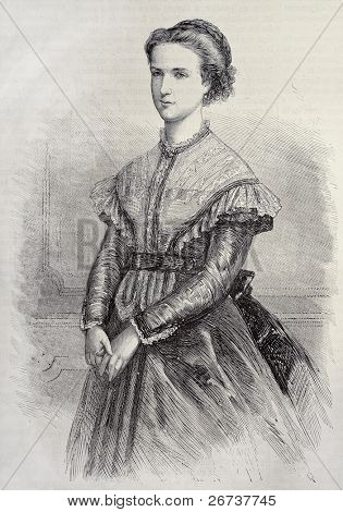 Old illustration of pricess Margherita of Savoy, future queen of Italy. Created by Chenu, published on L'Illustration, Journal Universel, Paris, 1868