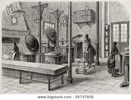 Antique illustration of the kitchen of Saint Anne psychiatric hospital. Original, created by Gaildrau, was published on L'Illustration, Journal Universel, Paris, 1868