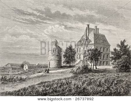 Antique illustration of Chateau La Tour Bordeaux, France. Created by Lallemand and Cosson-Smeeton, after drawing of De Lorbac, published on L'Illustration, Journal Universel, Paris, 1868