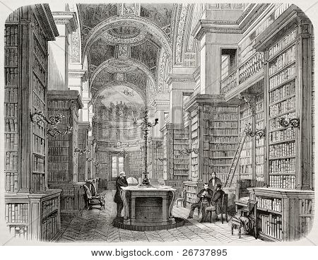 Old illustration of Palais Bourbon library, Paris. Created by Fichot and Cosson-Smeeton, published on L'Illustration, Journal Universel, Paris, 1868
