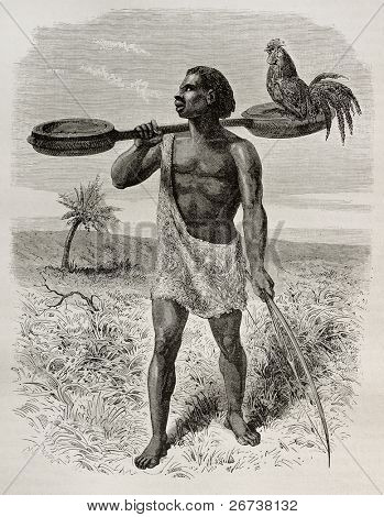 Old illustration of Unyamwezi native, Tanzania. Created by Bayard, published on Le Tour du Monde, Paris, 1864