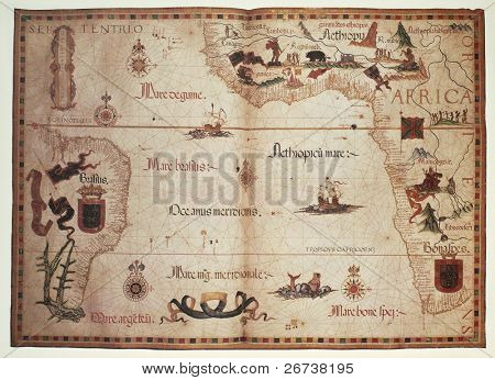 Old Portolan chart of Atlantic Ocean. Created by Diego Homem, published in England, 1558.